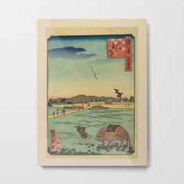 Ichiyôtei Yoshitaki - 100 Views of Naniwa: Shari-ji Temple (1860s) Metal Print