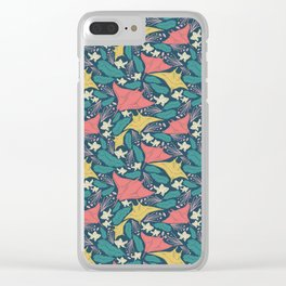Manta Ray And Fish Pattern Clear iPhone Case