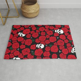 Skulls and Roses Pattern Rug