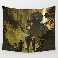 dinosaur Wall Tapestries featuring Dinosaur Poster by Ed Burczyk