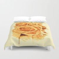 peach Duvet Covers featuring peach rose by clemm