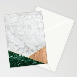 White Marble - Green Granite & Wood #138 Stationery Cards
