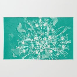 ghost bouquet and butterflies  on teal Rug