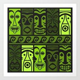 Palm Green Tikis! Art Print