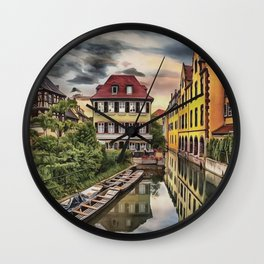 0M-010 - French Colmar the Little Venice, Lauch river Houses scenery, Travel art, Wall Clock