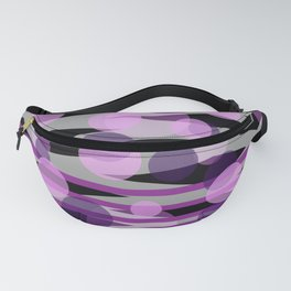 Waves pink grey with pik purple dots Fanny Pack