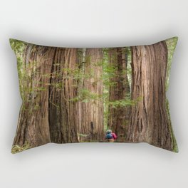 Humboldt Redwoods, Avenue of the Giants Photography, Redwood Forest Art, Person in Photo Art, Enchanted Magical Woodland Rectangular Pillow