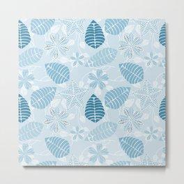 Blue Tropical Leaf Floral Pattern Metal Print