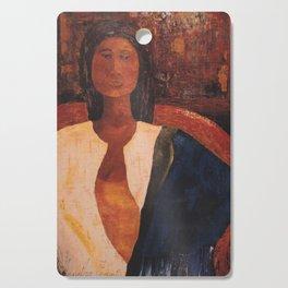 Woman in Blue Scarf Cutting Board
