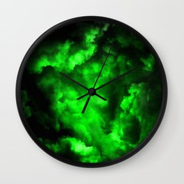 Envy - Abstract In Black And Neon Green Wall Clock