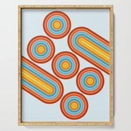 Retro Motion 2 – Orange / Yellow / Blue Abstract Stripe Pattern Serving Tray