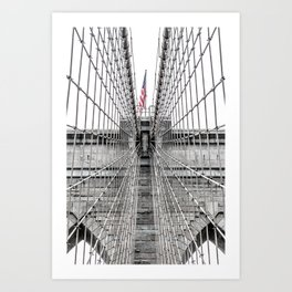 The Brooklyn Bridge and American Flag Art Print