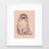 persian Framed Art Prints featuring Hipster Persian Cat by Huebucket