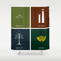 lord of the rings Shower Curtains featuring Lord of the Rings - Complete Minimalist Collection by Jamesy