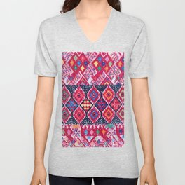 Chipas Pink Embroidered Fabric Unisex V-Neck