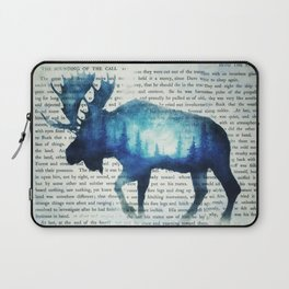 Double Exposure Moose | Night Sky Forest | Trees | Book Page | Vintage Art Laptop Sleeve