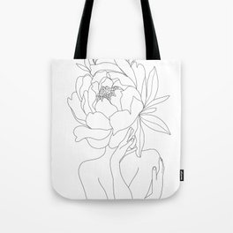 Minimal Line Art Woman Flower Head Tote Bag
