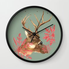 Forest Royalty, Stag, Deer, Christmas Stag, Woodland animals Wall Clock