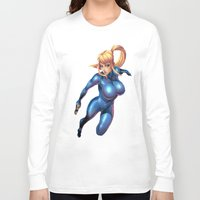 metroid Long Sleeve T-shirts featuring Samus-Metroid  by Deadly Casino Designs