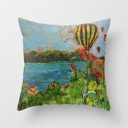 Airballoons over lake Throw Pillow