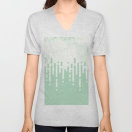 Marble and Geometric Diamond Drips, in Mint Unisex V-Neck