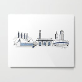 Kansas City Skyline Illustration in Sporting KC Colors Metal Print