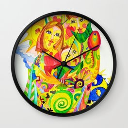 The Family, illustration made by Ines Zgonc Wall Clock