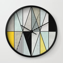 Colorful concrete triangles Wall Clock