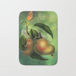 Bombay Mangos with Butterfly, Vintage Botanical Illustration Collage Art Bath Mat