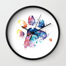 Dog Paw - Watercolor Painting - Pet Art Wall Clock