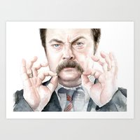 swanson Art Prints featuring Swanson Mustache by Olechka