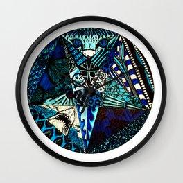 Blue Toned Pentagram Wall Clock