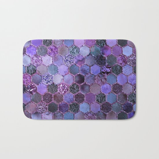 Purple geometric hexagonal elegant & luxury pattern Bath Mat