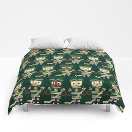 Super cute sports stars - Ice Hockey Green Comforters