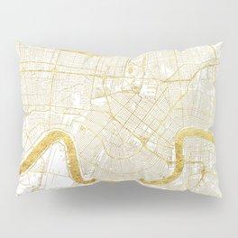 New Orleans Map Gold Pillow Sham