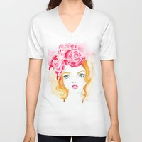 doll V-neck T-shirts featuring Doll by S'ANNie