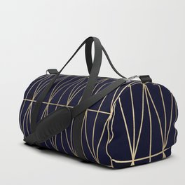 Modern gold geometric triangles pattern navy blue watercolor Duffle Bag