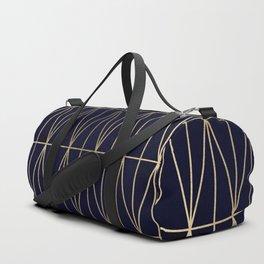Modern gold geometric triangles pattern navy blue watercolor Duffle Bag