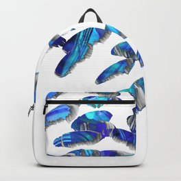 Blue And White Modern Art - Falling 2 - Sharon Cummings Backpack
