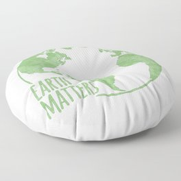 Earth Matters - Earth Day - Grunge Green Outline 01 Floor Pillow