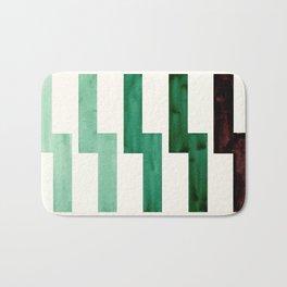 Teal Aquamarine Green Watercolor Gouache Geometric Pattern Zig Zag Lightning Bolt Shaped Mid Century Bath Mat