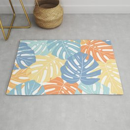 Monstera leaves Colorful Jungle leaves Palm leaves Tropical art Rug