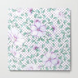Modern botanical hand painted lilac green floral polka dots Metal Print