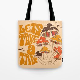70s Mushroom, Take A Trip, Hippie Boho Tote Bag