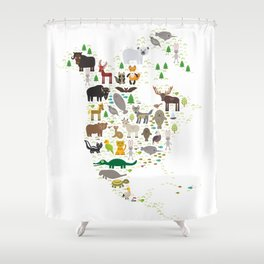 Map of North America with Animals bison bat manatee fox elk horse wolf partridge seal Polar bear Shower Curtain