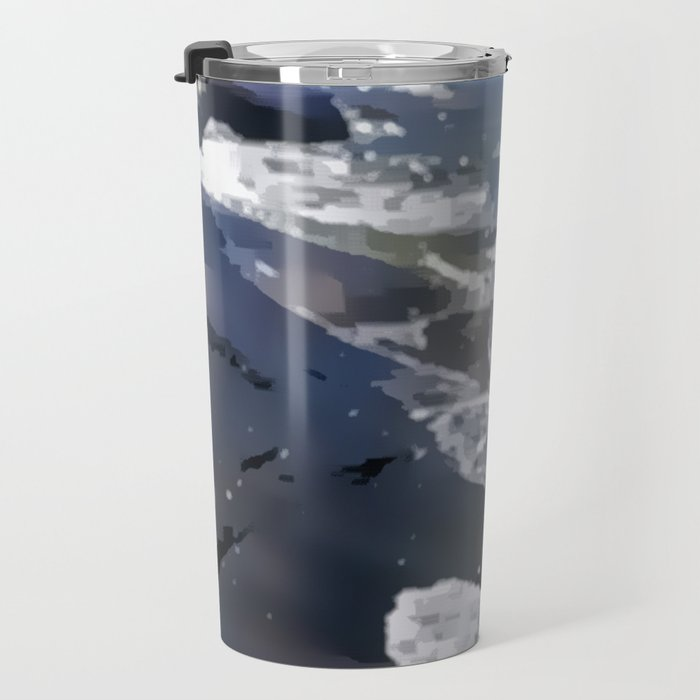 Abstracted waves splashing ashore Travel Mug