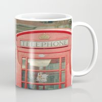 telephone Mugs featuring Telephone by The Last Sparrow