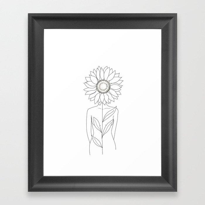 Minimalistic Line Art of Woman with Sunflower Gerahmter Kunstdruck