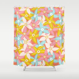 Stylized Large Illustrated Flowers in summer color palette Shower Curtain