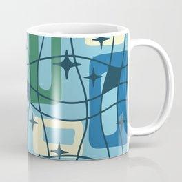 Mid Century Modern Cosmic Squares Pattern 328 Blue and Green Coffee Mug